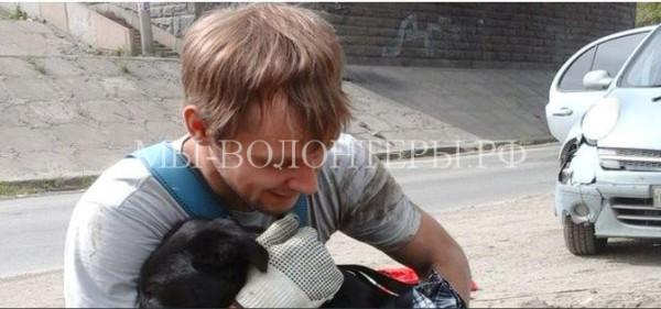 Новосибирцы спасли шестимесячного щенка, упавшего в канализационный колодец
