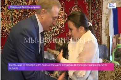 Глава Люберецкого района вручил девочке собаку, которую она попросила у президента РФ