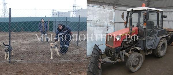 УК Грин  обеспечила приют трактором и завершает  площадку для  выгула собак