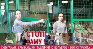 Волонтер Мария Гнетова - срыв табличек с опекаемых ею вольеров хулиганом Челкиной Натальей