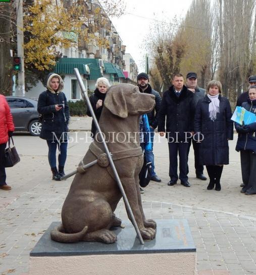 Первый в России памятник собаке-поводырю установили в Волжском