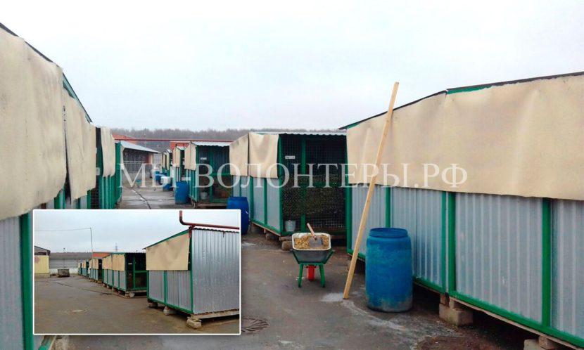 В рамках подготовки к зиме установлена защита на крайние вольеры в рядах приюта