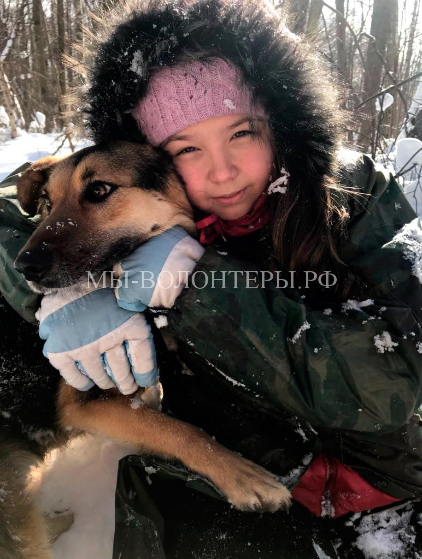 Волонтер Дина со своим подопечным в приюте Щербинка