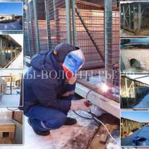 В приюте Щербинка идет активная стройка новых вольеров вместо ветхих