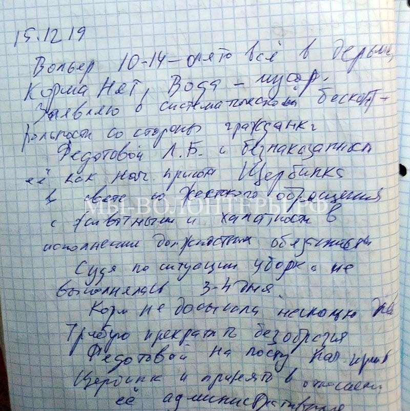Письменная жалоба на Федотову Л.Б. по безобразиям в приюте Щербинка и грязь в вольерах